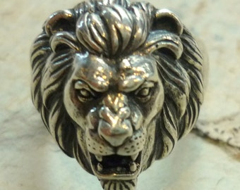 Sterling Silver Lion Ring, Animal Ring, Lion Head Ring, Chunky Silver Ring, Silver Sculpture Ring, Silver Unisex Ring, Oxidized Silver Ring