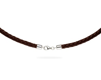 """5mm Brown Braided Bolo Leather Cord Necklace with 925 Sterling Silver Clasp 14"""" inches - 36"""" inches, You choose length. LCB0500BRNS"""