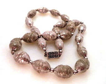Stunning Vintage Brushed Sterling Silver Bead Necklace