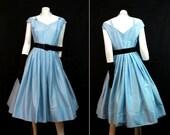 Vintage Full Skirted Party Prom Dress Rhinestone Pins