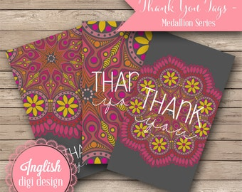 Printable Thank You Tags - Mehndi Medallion - INSTANT DOWNLOAD