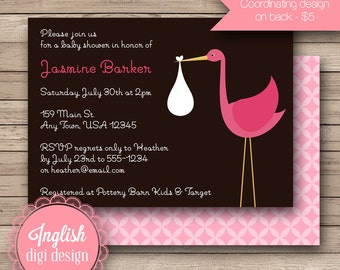 Stork Baby Shower Invitation, Stork Baby Shower Invite, Printable Stork Baby Shower Invitation - Modern Stork in Brown and Pink