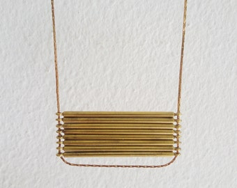 Échelle - Geometric vintage solid brass bar connectors ladder minimalist everyday necklace