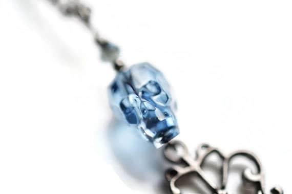 Swarovski Skull Necklace, Denim Blue Swarovski Necklace, Gunmetal Skeleton Key Necklace, Crystal Skull Necklace, Skull, Gothic