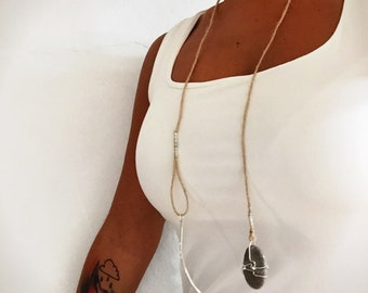 Long Boho Necklace, Rustic Silver Necklace, Nature Neclace- *