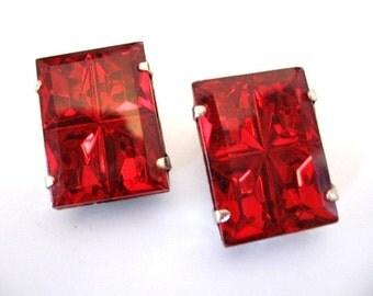 Vintage Large Red Rhinestone Earrings