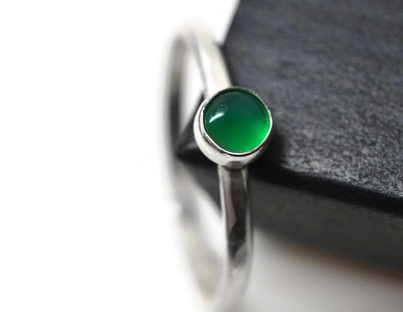 simple emerald ring minimalist green gemstone promise ring