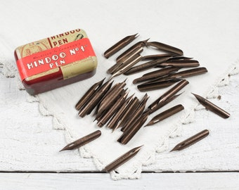 "Antique Pen Nibs - ""Hindoo No.1"" by MacNiven and Cameron, 50 Nibs in Original Tin"