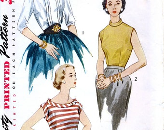 Simplicity 3771 Vintage 50s Junior Misses' and Misses' Blouse Sewing Pattern - Uncut - Size 12 - Bust 30