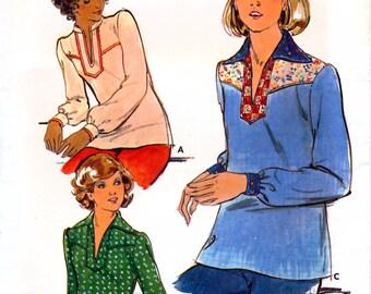 Butterick 4491 Vintage 70s Misses' Top Sewing Pattern - Uncut - Size 8 - Bust 31.5