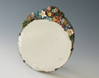 Antique Barbola Primrose Garland Beveled Boudoir Easel Mirror Made in England