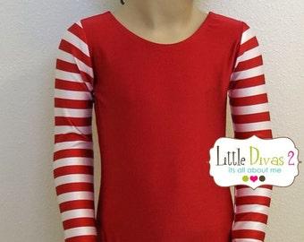 CHILD (Xmas-Red)Striped Long Sleeve Leotard