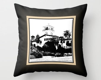 Santa Barbara Courthouse and Mission Pillow Fabric