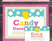 Girl Rubber Ducky Baby Shower Candy Guessing Game Printable - Instant Download - Rubber Duck Guess Game - Rubber Duckie Baby Shower Games