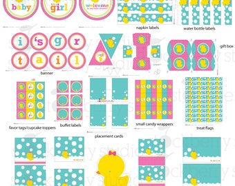 Girl Rubber Ducky Baby Shower Decorations Printable - Instant Download - Pink Baby Shower Banner - Duck Baby Shower Table Signs - Favor Tags