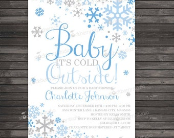 Boy Baby Its Cold Outside Baby Shower Invitation Printable - Blue Gray Winter Wonderland Baby Shower Invites - Snowflake Baby Shower Invite