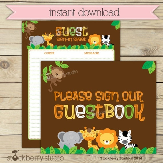 safari guest book sign in baby shower printable instant download