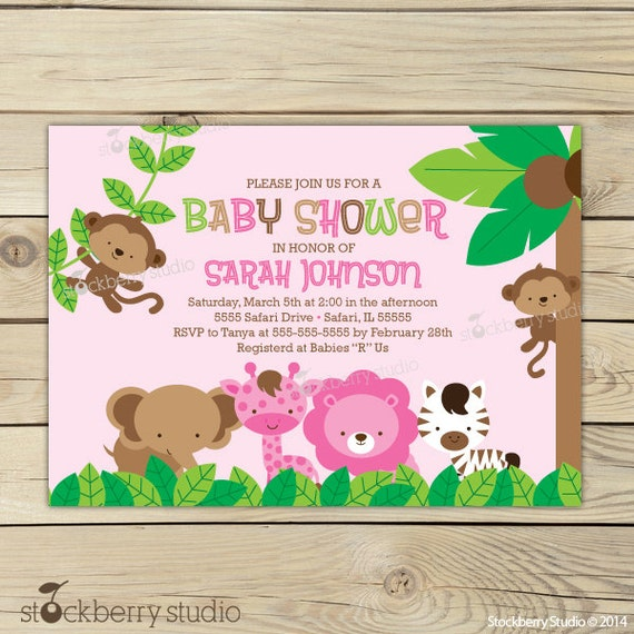 Girl Jungle Baby Shower Invitation Printable Girl Safari Baby