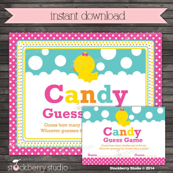 Candy Baby Shower Game: Girl Rubber Ducky Baby Shower Candy Guessing Game Sign