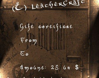 Gift Certificate - (I) LeatherCraft - Gift Card - 25 USD
