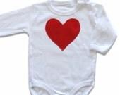 Red Heart Baby Girl Onesie, Valentine's Day onesie, Long or Short Sleeve