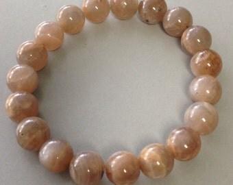 Mocha Peach Moonstone Bracelet 10mm Round Bead Stretch Bracelet for moon magick abundance intuition and goal manifestation