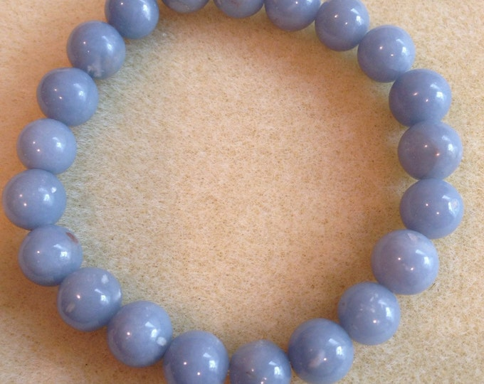 Angelite 10mm Round Bead Stretch Bracelet with Sterling Silver Accent