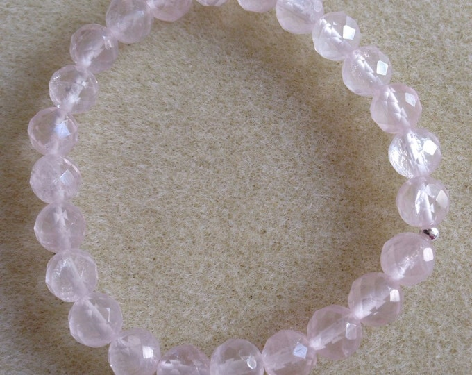Rose Quartz Faceted 8mm Round Stretch Bead Bracelet with Sterling Silver Accent