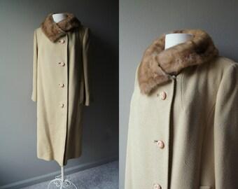 Vintage 50's MINK FUR Collared Camel Tweed Over Coat  Mink Coat Fur Coat Long Coat Heavy Coat Tan Coat Camel Coat Tweed Coat 50's Coat