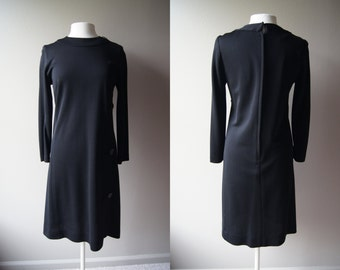 Vintage 60's Black Long Sleeve Sheath Dress - Medium