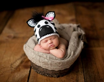 Zebra Hat Newborn Photo Prop