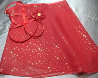 """13""""  Red Chiffon with Scattered Sequins Adult Ballet Wrap Skirt"""