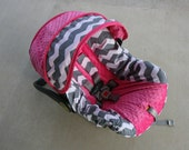 Reserved for Rilee - Gray and White Chevron with Lavendar minky and trim for Chicco 30- Infant car seat cover-