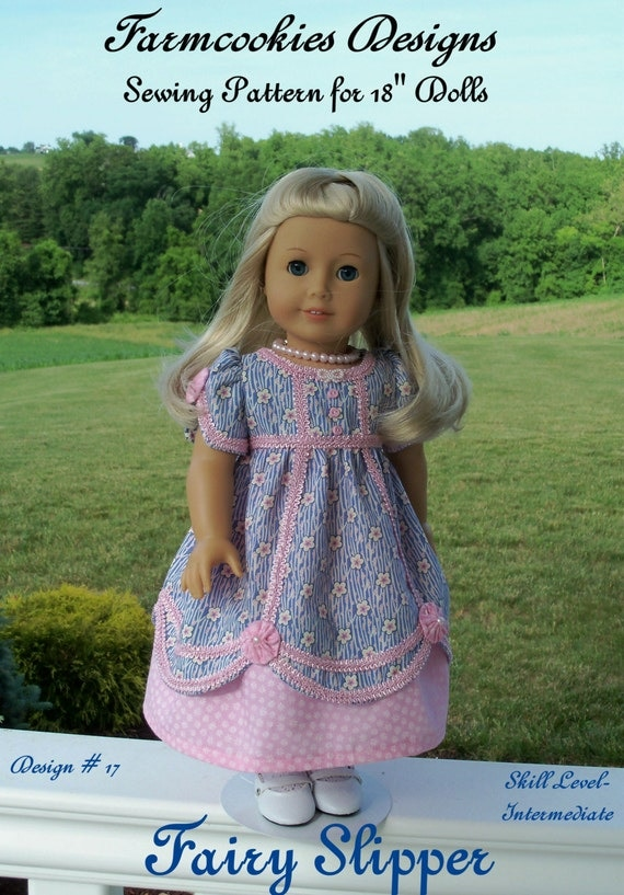 """PRINTED Sewing Pattern- Fairy Slipper Regency Gown /  Patterns for 18"""" American Girl Doll"""