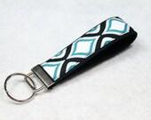 Fabric Key Fob, Key Chain, Key Ring, Key Holder, Wristlet Key Fob, Wristlet Keychain, Fabric Key fobs-Blue Mini Geo