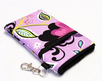 iPhone 7 Plus Wallet Case, Cell Phone Case, iPhone Purse, iPhone 6s Case, Moto G4 Case, Samsung S6 Phone Case, Moto X Case-Purple Garden
