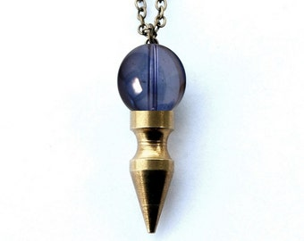 Celestial Lavender aura crystal ball spike necklace