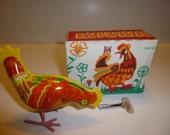 Belarus Pecking Chicken Tin Vintage Toy, 1950s