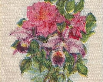Orchids and Roses Vintage Tobacco Silk (5), 1900s