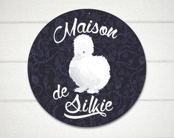 """Maison de Silkie Chicken Sign 9"""" ROUND (black) SKU: SR9055"""