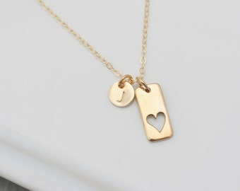 Mothers Necklace, Mother Daughter Jewelry, Personalized Initial Necklace, GOLD Grandmother Necklace, Gold Heart Necklace, Mothers Gift