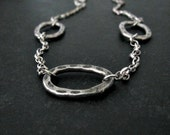Rustic Link Necklace | Sterling Silver Link Necklace | Textured Link Chain | Artisan Necklace