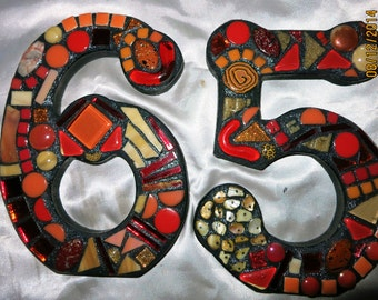 Custom Made Mixed Media Mosaic House Numbers - Your Color Choice  (These are in Shades of Reds, Oranges & Tans / color samples only)