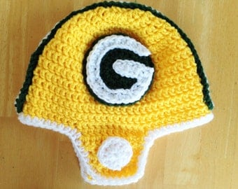 Crochet Football Helmet, Green Bay Packers Helmet, Crochet Helmet Hat, Sizes Newborn to 12 months