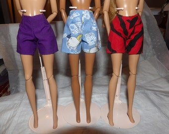 3-piece short set in purple, blue dog print and red & black Zebra print for Fashion Dolls - es318