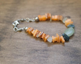 Simple Fun Bracelet of Orange shell chips, ocean jasper and czech glass - The Long Evening - Boho Chic Jewelry for the Eclectic Soul