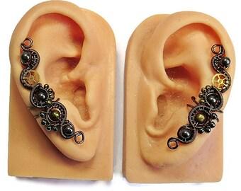 Hematite & Bronze Steampunk Ear Cuffs - Steampunk Jewelry