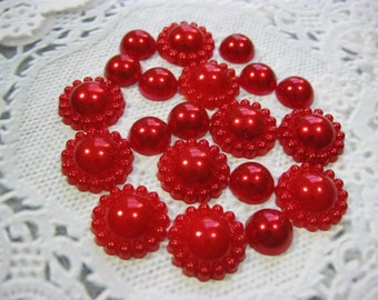 20 Red Acrylic Flat Back Embellishments, Acrylic flower pearls for Scrapbooking Cards Mini Albums Tags Papercrafts Jewelry DIY