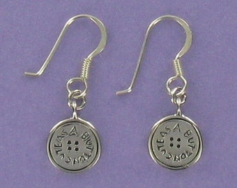 Cute as A Button Earrings - 925 Sterling Silver on French Wires