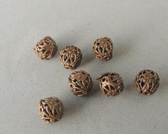 Vintaj Brass Spacers, Filigree Beads, 9mm Round, 7 Beads, Vintaj Brass Findings